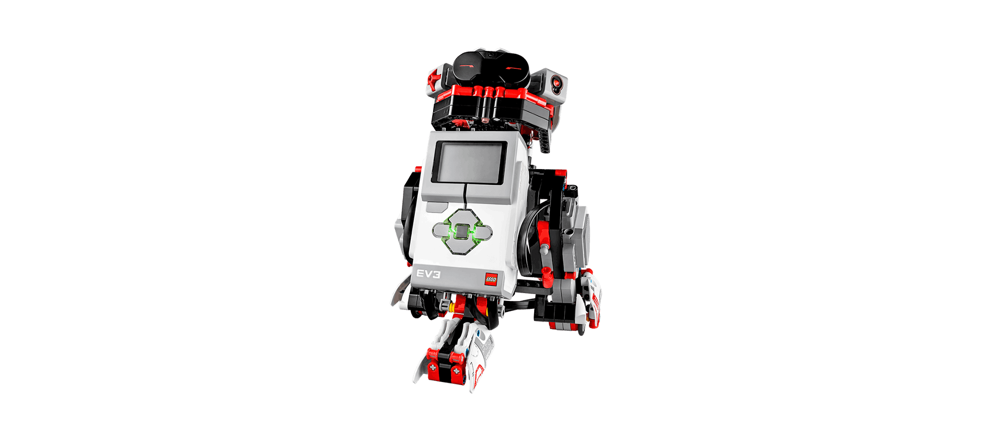 For example this robot can interact with you via the IR Beacon. It supports a wide set of sensors that can easily be programmed or extended in the EV3Dev Image.
