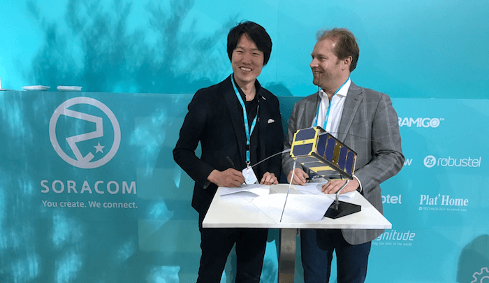 Ken Tamagawa, Soracom CEO and cofounder, with Ernst Peter Hovinga, Magnitude Space cofounder and CEO