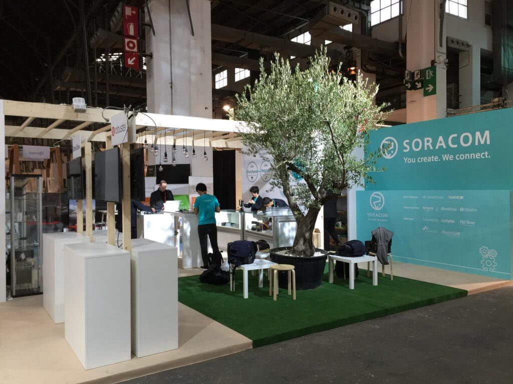 Preparing for the event opening at SORACOM booth